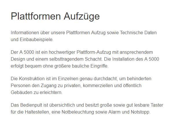 Plattformen-Aufzüge